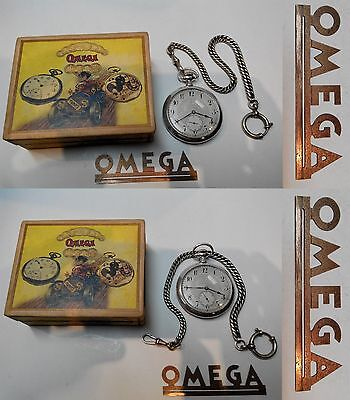 Very Rare Antique Swiss Pocket Watch Omega Open Face Solid Silver Box Chain