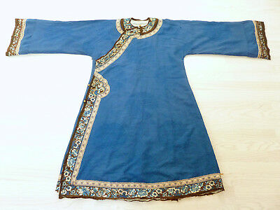Antique Chinese 19th Century Blue Silk Robe with Embroidered Detail Dragons