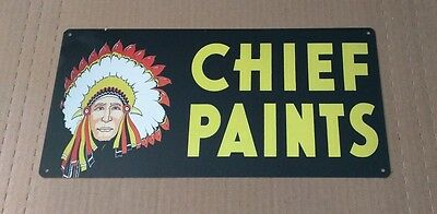 Chief Paints Vintage Image  Advertising Sign - Native American S12