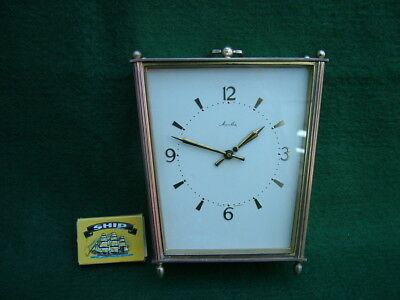 VINTAGE MAUTHE BRASS ting-tang CHIMNG on 2 BELLS CARRIAGE CLOCK GERMAN MADE pwo
