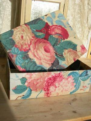 1 large large antique vintage French fabric covered boudoir box - 1850s chintz