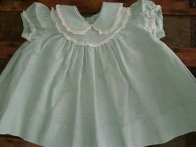 Vintage Baby Dress Green & White Checks With Side Pleats