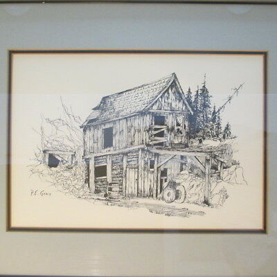 """Pen and Ink """"The Old Mine"""" by P.E. Gray Signed Framed Matted Colorado?"""