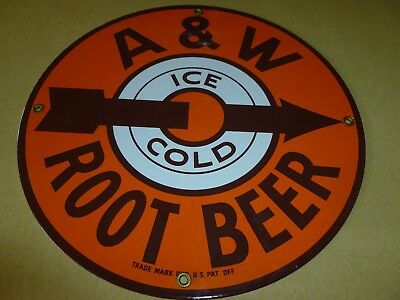 A & W   PORCELAIN  ROUND METAL SIGN    root beer/ drive in/suds