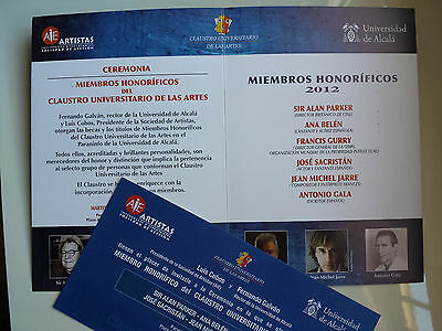 Jean Michel Jarre - Hand Program + Invitation To Spanish Awards Ceremony 2012