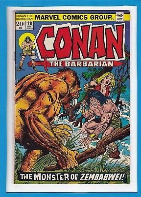 "Conan The Barbarian #28_July 1973_Fine_""monster Of Zembabwe""_Bronze Age Marvel!"