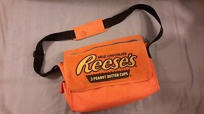 Reese's Peanut Butter Cup Graphic on Bright Orange Messenger Bag