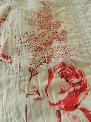 Antique hand stitched cotton Durham quilt. Pink roses