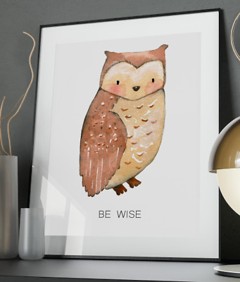 Wise Owl Watercolour Art Print Nursery A3 A4 A5 A6 Decor Gift Wall Xmas Poster