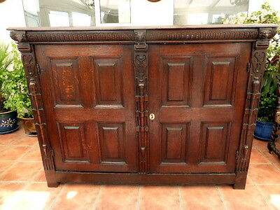 Carved Country Oak Bookcase /cupboard 71 Inch Length 1680 Free Shipping England