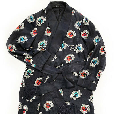 rare vintage 1950s A Sulka robe silk damask dragon print dressing gown