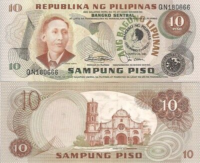 Philippines P167, 10 Piso, Apolinario Mabini / Barasoain church, Unc, 1981 Comm.