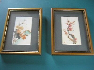 Pair of small Chinese Paintings - Bamboo/Rice Paper.