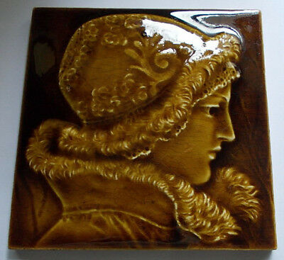 Another STUNNING RELIEF PORTRAIT TILE c1890 WADE FLAXMAN #2 ISAAC BROOME DESIGN