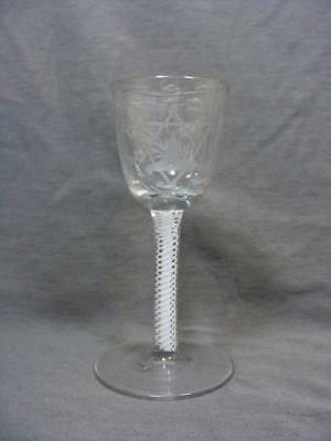 18c WINE GLASS OGEE BOWL DOUBLE TWIST STEM ENGRAVED MASONIC MOTIVE BOWL  c1750