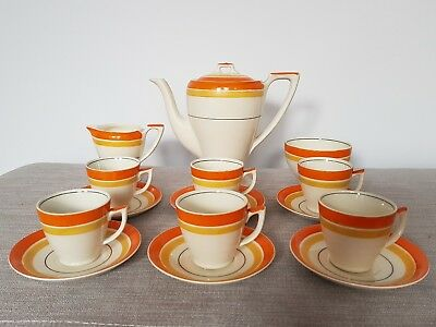 Rare Vintage Art Deco Myott Tea Set for 6 Handpainted Teapot Orange Yellow 1930s