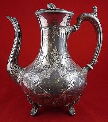 Large Silver Plated Art Deco Ornate Teapot 24cm Tall