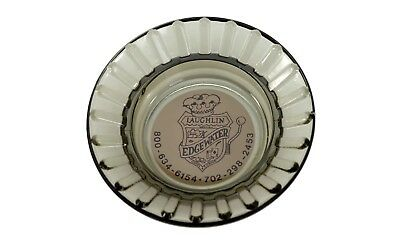 Laughlin Nevada Edgewater Hotel And Casino Ad Label Ashtray Flared Smoked Glass