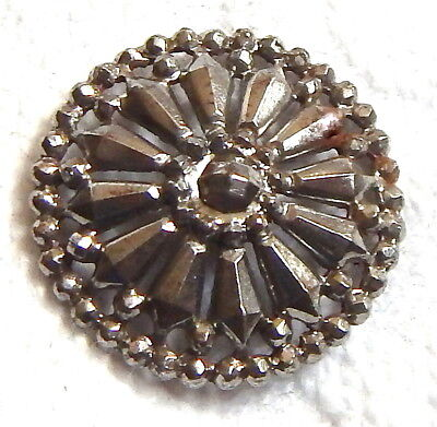 BEAUTIFULLY INTRICATE ANTIQUE LATE 19th CENTURY LACY CUT STEEL BUTTON