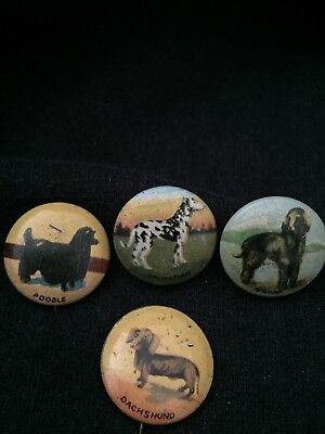 Lot of 4 Vintage Dog Breed Pin Back