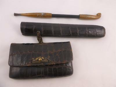 Antique 19thc Meiji Period Japanese Leather Tobacco Case With Kiseru Pipe & Case