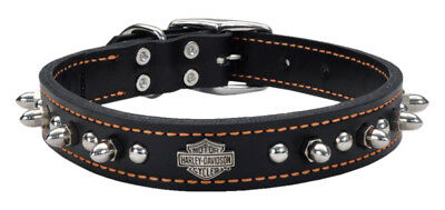 Harley-Davidson 1 in. Adjustable Leather Spiked Collar - Black w/ Orange Thread