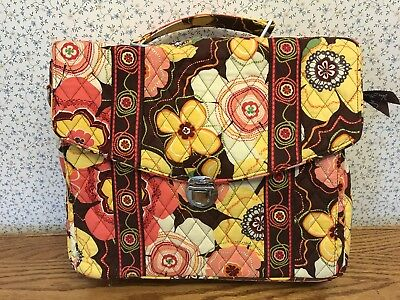 Vera Bradley Attache Quilted Briefcase Laptop Bag Floral Colorful RemovableStrap