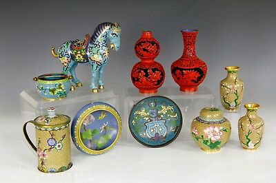 Large Lot Of Chinese Cloisonne Lacquer Bowls Vases Statues Etc