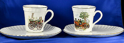 CROWN Staffordshire England Fine Bone China Cup & Plate PAIR Mercedes & Daimler