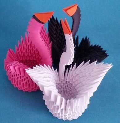 Hand-made 3D Origami Swan - A Set of Three Swans