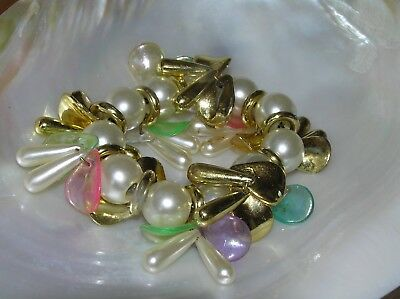 Estate Faux White Pearl Bead with Plastic Goldtone Rings & Pink & Green Charms