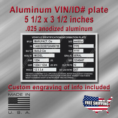 Large TRAILER TRUCK VIN/ID Plate with Custom engraving included + Free Shipping