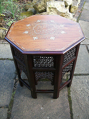 Large Vintage Octagonal Anglo/indian  Folding  Wooden Side Table Inlaid Top
