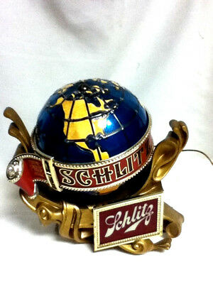 Schlitz beer sign lighted motion spinning water globe 1976 bar light baroque A+