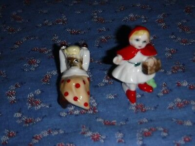 "Vintage Mini Bone China Red Riding Hood 1 11/16"" high  Wolf in Bed"
