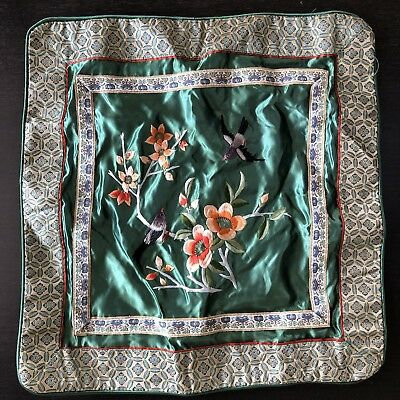 Fine Old VTG Antique Chinese Silk Embroidery Pillow Panel Floral Art Handmade NR