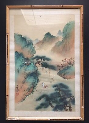 Fine Old 19C / 20C Chinese Watercolor Silk Painting Mountain Scholar Art SIGNED