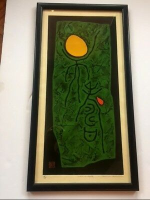 Antique woodblock by Haku Maki, Signed, Titled and Numbered