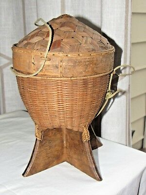 Vintage Chinese or Thailand early Wooden Woven Rice Basket Hang or Stand
