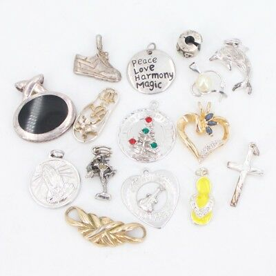 VTG Sterling Silver - Lot of 15 Assorted Charm Pendants NOT SCRAP - 39g