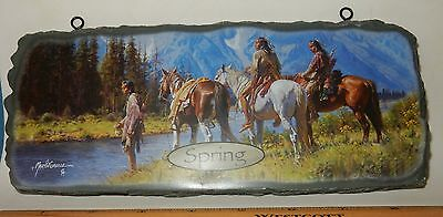 BRADFORD WELCOME SEASONS SIGN NATIVE AMERICANS HORSES RIVER'S EDGE plate plaque