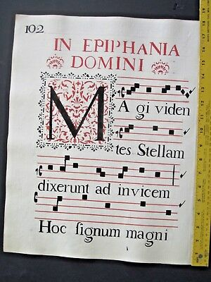 Music Manuscript Leaf on Paper,Huge Antiphonary,Italy,ca.1750