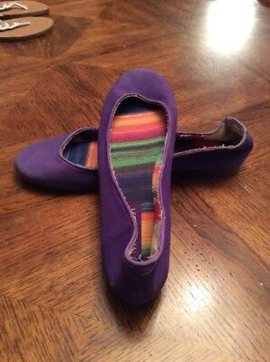 6186bf1f20c88 Nine West Brasil Our Love Purple Ballet Flats Canvas Fabric 6M Display