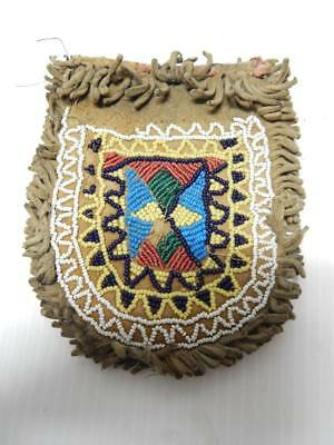 c1880s era PLAINS CREE INDIAN BEADED BOTH SIDES POUCH / BAG MONTANA / ALBERTA