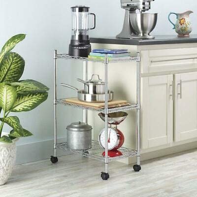 3 Tier Shelf Shelving Adjustable Wire Metal Storage Rolling Rack Chrome/Black