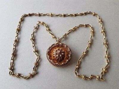 GORGEOUS ANTIQUE GILT SILVER filigree medallion with UNIQUE Hand knitted chain