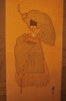 Antique Signed 1916 Japanese Noh Dancer / Sumie Painting / Scroll