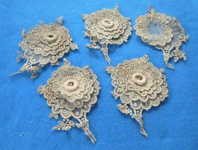 4 Antique Net Lace Embroidered 3 Dimensional Flower Appliques