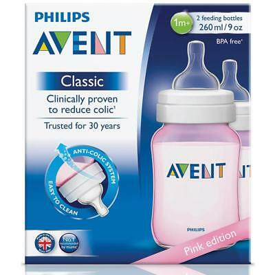 Philips Avent Classic + Feeding Bottles 260Ml Twin 2 Pack Pink Reduces Colic
