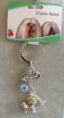 Best in Show LHASA APSO puppy DOG Lover 6 Charm KEYCHAIN Key Ring nwt Dogs